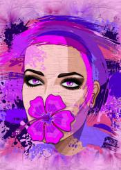 hibiscus pink purple exotic summergirl beautifulgirl paintsplats surrealstyle streetartstyle fashiongirl girlportrait woman makeup modernart contemporaryart graphicart abstract portraiture tropicaflower exoticflower pinkhibiscus womanportrait summerstyle grunge