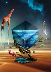 giraffe chameleon cube water tree nature surreal desert fantasy dream world flower butterfly abstract animals oasis sky nebula space stars moon fish koi dali beautiful
