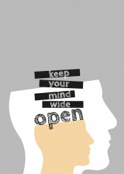 digital illustration typography head mind black white grey coral quote