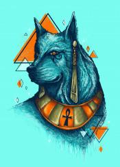 wolf animal dog unique egyptian egypt pharaoh cool illustration colors neon royal anubis geometric lines