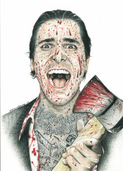 movie americanpsycho christianbale actor axe blood tattoo inked inkedikons