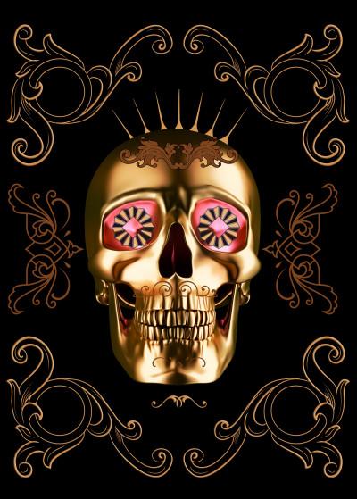 Mikath  Skulls   Displate Prints on Steel