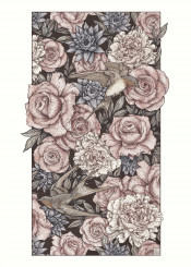 bird swallow abstract vintage roses flowers birds swallows rose old retro pattern