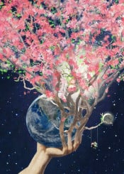 love earth spring blossom space surreal