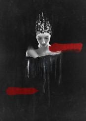 black white red dark abstract surreal vision portrait painting digital art bjorn norberg ghost print