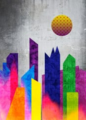 city urban landscape buildings geometric flat abstract trendy concrete light leak brocade summer colors shapes palette bright vivid polka dot moon tones strong colours purple blue yellow green gray pattern vintage retro modern geometry trending stylish simple contemporary fashionable colorful rectangle circle architecture