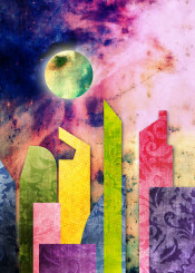 city urban landscape buildings geometric flat abstract trendy spring pastel tones grunge grungy brocade mosaic rust rusty rusting nebula outer space glowing moon green yellow red pink purple blue vintage paper texture pattern retro modern geometry trending stylish simple contemporary fashionable colorful rectangle circle architecture