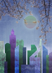 city urban landscape buildings geometric flat abstract trendy sakura cherry blossoms shapes stylish palette muted stripes glassy texture moon glowing pastel tones cool colours purple blue pink green pattern vintage retro modern geometry trending simple contemporary fashionable colorful rectangle circle architecture