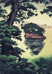 asian japanese ukiyoe trees pine island sea water reflection green brown white blue