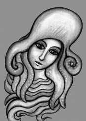 octopus hat girl woman ocean waves charcoal drawing face animal
