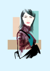 fashion art painting woman style beauty city businesswoman handbag turtleneck makeup hairstyle gloves