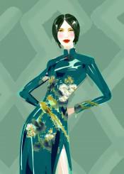 fashion art painting illustration shanghai dress china oriental fashionillustration style beauty couture