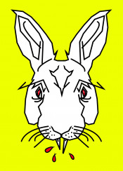 vampire rabbit bunny blood horror funny humour graphic design yellow red white black urban street abstract line poly animals nature animal easter