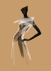 fashion art painting watercolor illustration sahara dress elegance beauty style desert africa black white