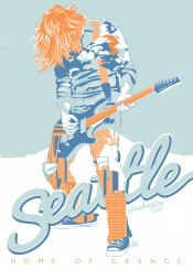 seattle nirvana grunge music guitar travel lyrics typography blue orange