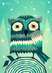 owl snow trees