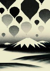 mountain balloon hotairballoon black white