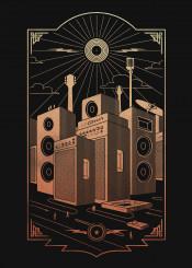 music rock bands vinyl record lp city town sound song parody poster vector vintage retro