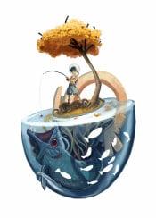fantasy surreal weird scifi surrealism original illustration drawing conceptart concept fishing imagination children autumn blue tree fish saturated sciencefiction