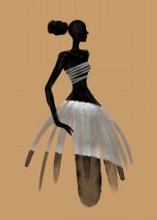 fashion black white style dress silhouette sahara africa woman female beauty