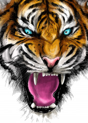 tiger animal cat illustration design art digital paint cool unique ferocious angry