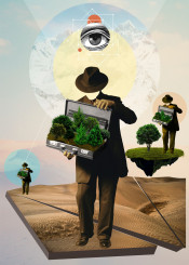 dessert landscape man tree nature cool eye abstract collage deforest reforest mountains scenery suit