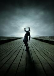 tv blackdress fashion technology strange surreal wood clouds rainy melancholic nostalgic