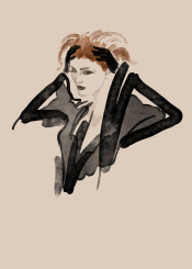 fashion beauty style makeup clothes black lingerie ginger nostalgic fifties hollywood face fashionillustration gloves sheer