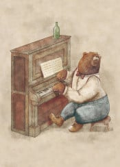 bear pianist piano music old vintage animal wild retro funny cute
