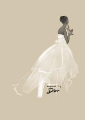 art fashion quality couture style black white taupe dior designer christian christiandior wedding dress bride weddingdress watercolor aquarelle