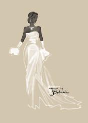 fashion dress illustration vintage balmain black white wedding bride couture hautecouture watercolor aquarelle painting