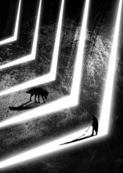 wolf hunter den grey lights minimal geometry fantasy movie black white animal cave texture