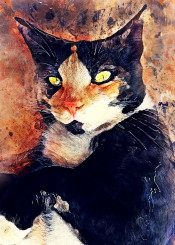 cat cats kitty animal animals watercolor art painting