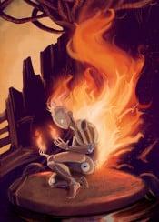 fantasy weird surreal scifi sciencefiction character fire puppet doll wood flames hot power magical magic surrealism imagination original digital orange saturated color fuego light luz llamas calor warm
