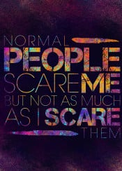 typography typo text quote humor funny colors neon people scare normal unique digital art design layout font