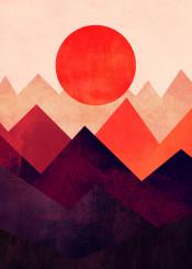vector art sun mountain illustration digital design