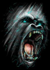 ape gorilla animal monkey roar lightning bolt design digital art cool illustration photoshop neon colors colorful unique shock wave