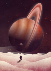 planet saturn desert moon outerspace vector art illustration astronaut stars