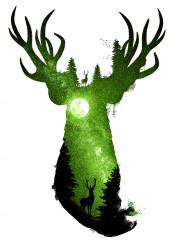 dverissimo designstudio animals animalia deer forest moon stars night space mystic nocturne green trees wild deep peace illustration photo silhouette digital
