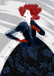 fashion lace porcelain china indigo blue red gloves dress couture floral denim jeans