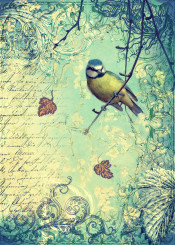 words wind leaves bird turquoise golden cream vintage antique blue ornate collage yellow classic decor writing inspirational poetic nostalgic textured sabby