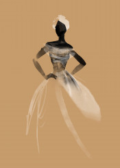 fashion style chic watercolor aquarelle african queen princess bride dress couture black sand sahara desert