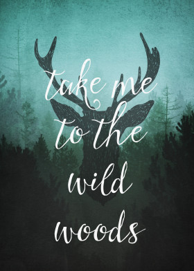 stag deer forest wild wilderness adventure outdoor vintage texture rustic mint teal quote text woods takeme camping camper dark monika strigel