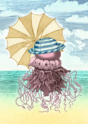 jellyfish umbrella shore beach sea sky cloud sand hat nonsense collage vintage pop surreal crazy particular breeze pepetto