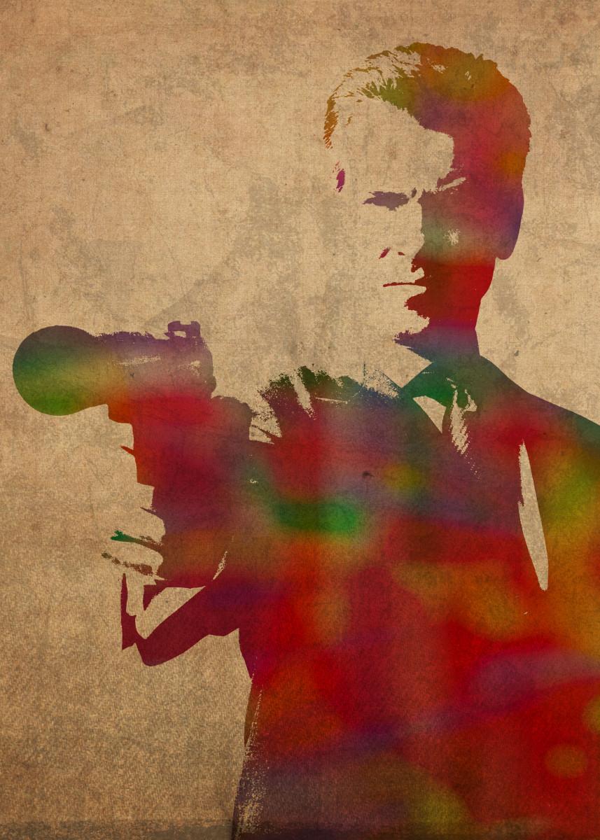 Pierce Brosnan as James Bond 007 Watercolor Portrait 182297