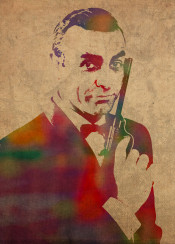 sean connery james bond watercolor portrait jamesbond