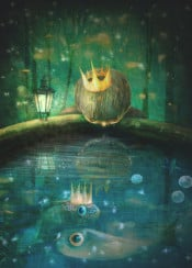 boy storybook magical fish water night blue green prince crown children