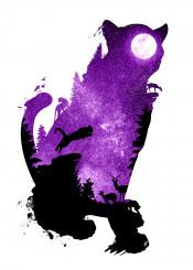 designstudio panther tiger animal animalia feline cat purple night space stars sky jump hunt hunting moon lunar nature landscape deer prey dark silhouette digital photo illustration
