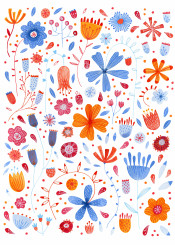 flowers floral orange blue white pink meadow english england garden painting watercolor nicsquirrell pattern