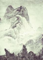 nature japan asian oriental mountain vintage hills trees forest black white grey